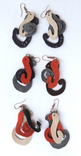 Octopus leather earrings