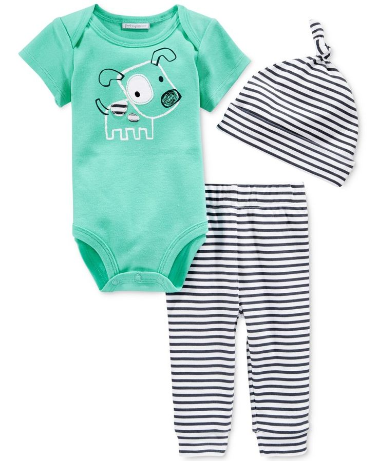 First Impressions Baby Boys' 3-Piece Dog Bodysuit, Stripe-Leggings & Hat Set, Only at Macy's