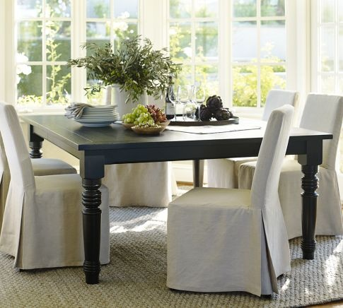 I Am Dying To Have This Black Square Dining Table From Pottery Barn 60 Extends 92 Long Would Like A Mix Of Some Dif