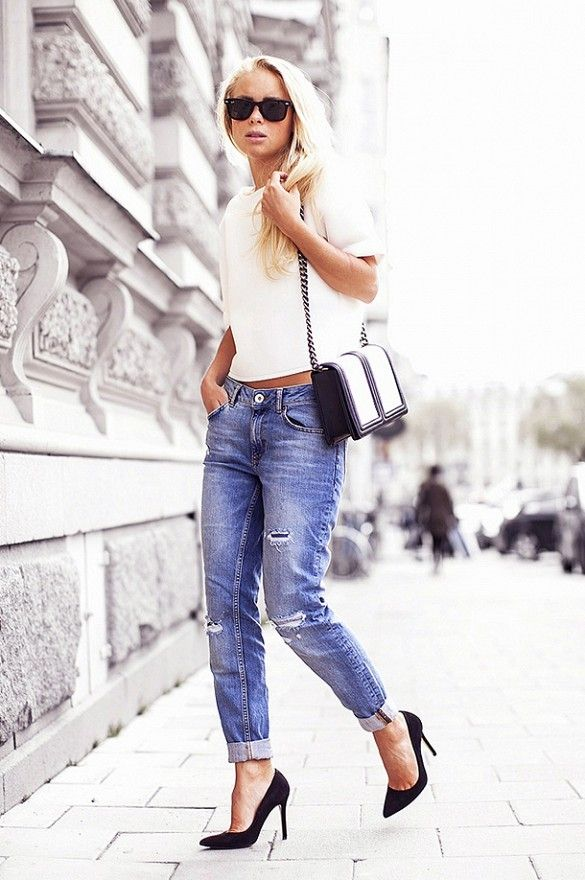 @Who What Wear - The Best Blogger Outfit Ideas To Try This Weekend On Victoria Tornegren of Victoria Tornegren: Vila Nolana Top ($37); River Island Straight Crop Florence Jeans ($67); Whistles shoes; H&M bag.