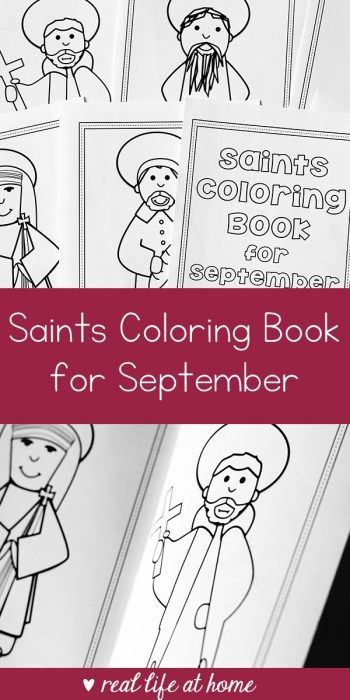 Printable Saints Coloring Book for September  Its time for the second in my series of 12 saints coloring book printables! Last month I shared the free August Saints Coloring Book. Now I have the Saints Coloring Book for September available.  Saints Coloring Book for September Printable Set  The September Saints Coloring Book Printable has a cover that can be colored and then includes six coloring pages (they are half sheets of paper so two fit on each standard 8.511 piece of paper) of saints…