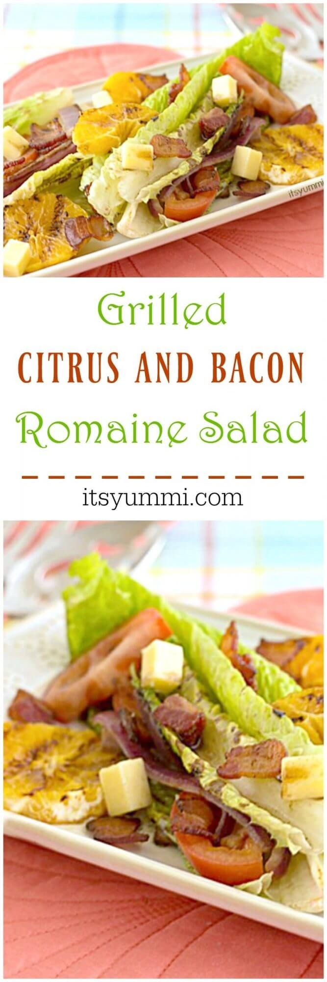 Grilled Romaine Salad With Grilled Oranges, Avocado, Bacon ...