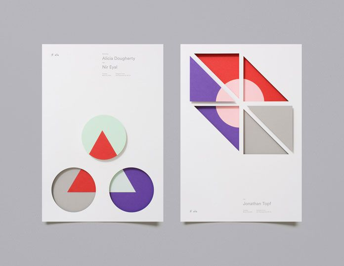 Diverse posters based on different graphic shapes.