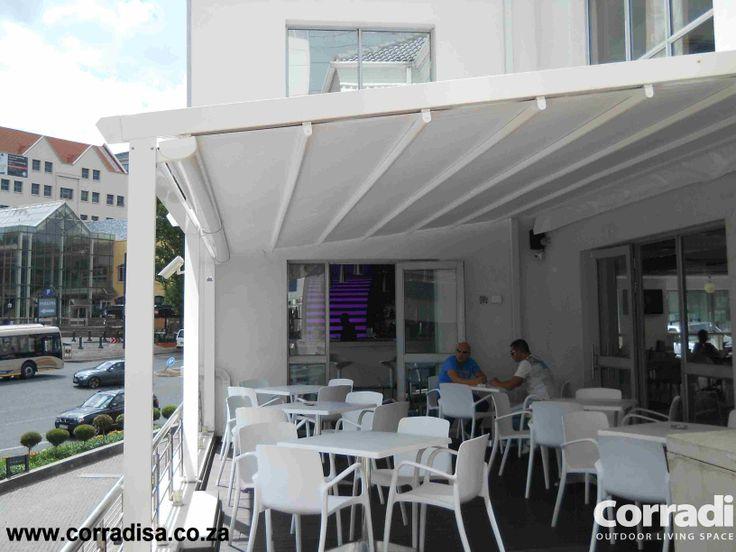 Cool and inviting outdoor cafe cover with Iridium awning, Sandton, Johannesburg.