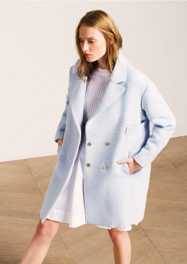 Manteau oversize en lin rustique bleu ciel - femme - tara jarmon