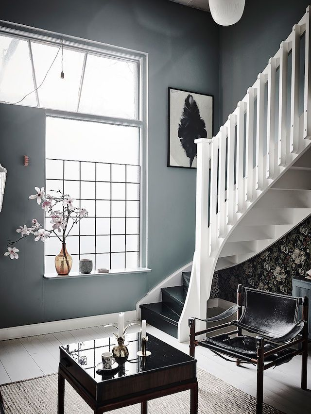 Black and white stairs in a romantic Swedish home