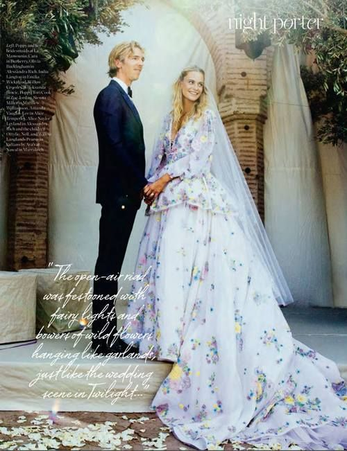 The bride Poppy Delevingne and the groom James Cook at theirMoroccan MarrakeshWedding- PORTER Magazine Fall 2014.
