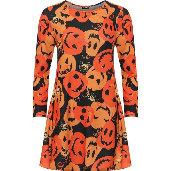 WearAll Plus Size Pumpkin Print Long Sleeve Swing Dress ($32) ❤ liked on Polyvore featuring dresses, orange, plus size flare dress, orange dresses, flare dress, women plus size dresses and swing dress