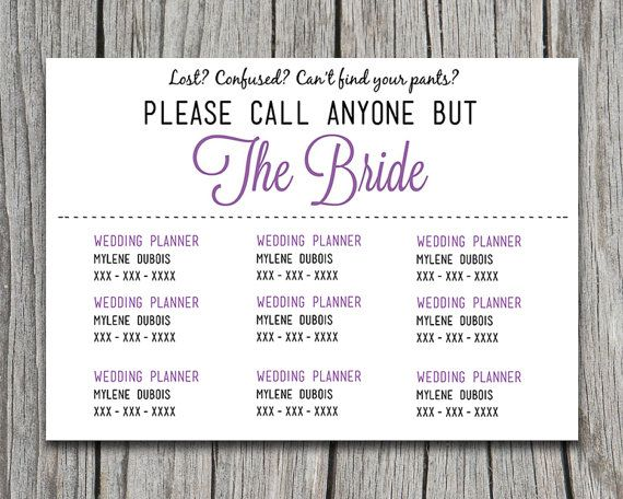 diy wedding information card template  u0026quot please call anyone but the bride u0026quot  card
