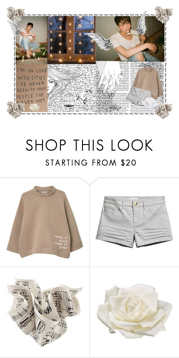 """Don't worry......"" by hikaruthepanda ❤ liked on Polyvore featuring MANGO, Allstate Floral, adidas, bts, jin and pinkprincess"