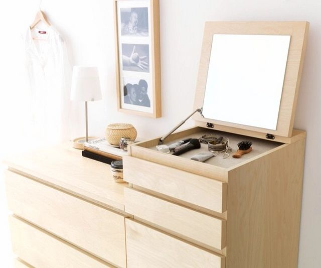 ikea Malm - this and two 6-drawer chests perfectly fit between opening in bricks to divide the bedroom from the living room
