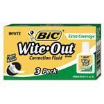 BIC America WOFEC324 Wite-Out Extra Coverage Correction Fluid 20 ml Bottle White 3/Pack