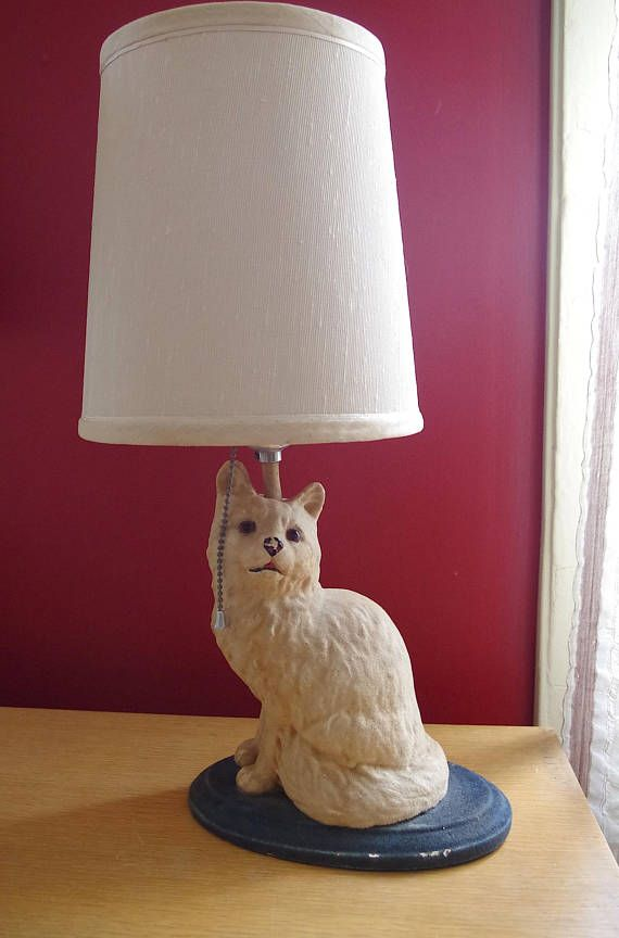 Vintage Flocked Chalkware Kitty Cat Lamp With Shade Works