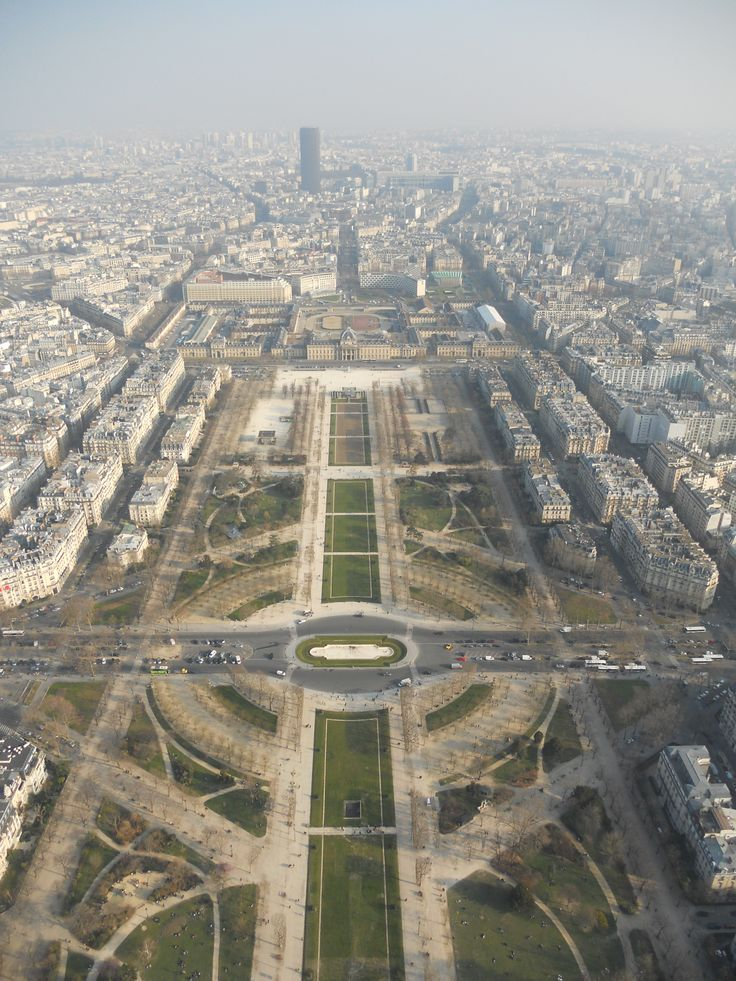 View of the Champs de Mars from the top of the Eiffel Tower