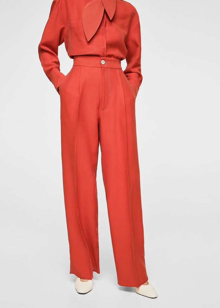 Contrast seam trousers - Women | MANGO USA