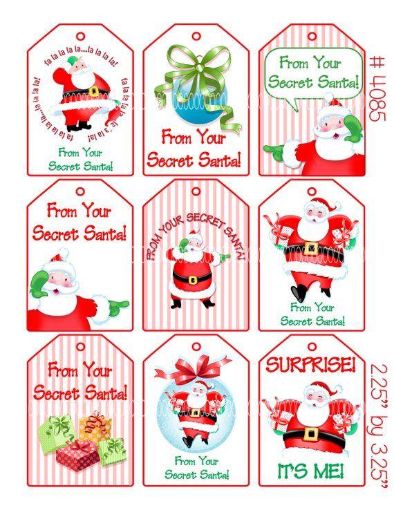 Digital Clipart Instant Download Secret Santa Christmas Etsy Santa Christmas Tags Santa Gift Tags Secret Santa Gift Tags Printable