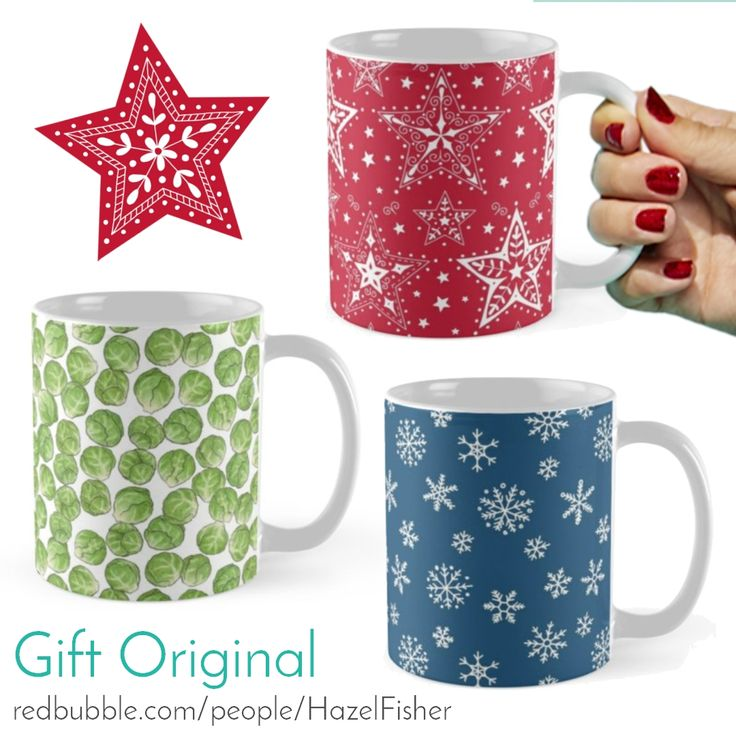 Christmas mug designs by Hazel Fisher Creations available from Redbubble - Brussel Sprouts, Christmas Patterned Stars and Snowflakes on Navy Blue. #surfacedesign #mugs #giftoriginal #giftideas #christmasgifts #designer #holidaygifts