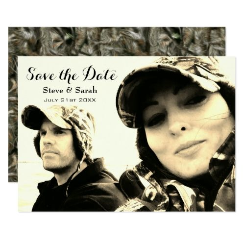 Camo Hunting Couple Save The Date