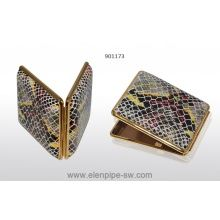Cigarette case VH 901173 for 18 KS/24 slim, leather, metal, croko, golden, 10x8.4x1.2 cm