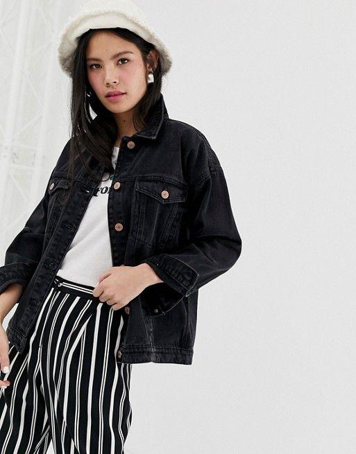online retailer f60e0 40651 Monki – Schwarze Oversize-Jeansjacke mit Bio-Baumwolle | My ...