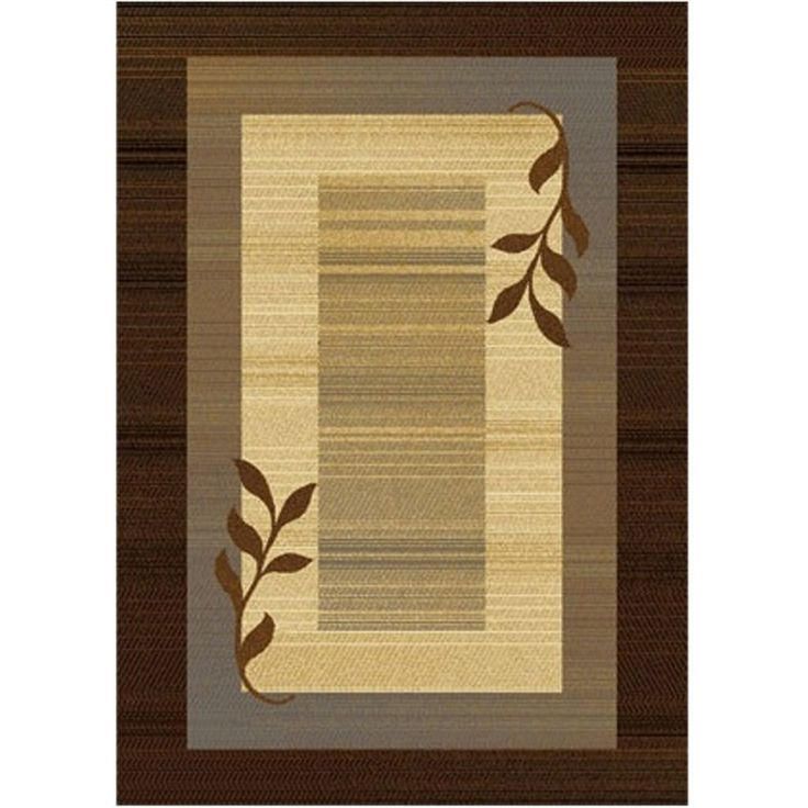 Royalty Collection Brown/Blue Modern Area Rug with Vine