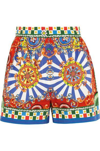 DOLCE & GABBANA Carretto Printed Cotton-Poplin Shorts. #dolcegabbana #cloth #shorts