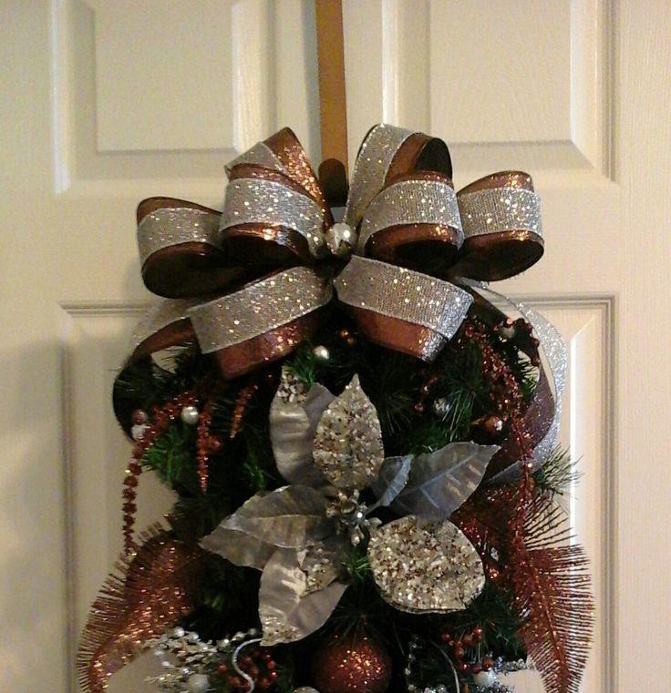 Five Star Holiday Decor Part - 34: Christmas Swag, Garland Wreath, Elegant Silver And Bronze, Designer Floral  Swag, Door. Floral SwagsChristmas SwagsChristmas OrnamentLuxury HolidaysPine  ...