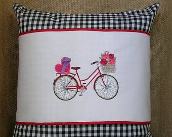 Items similar to Hand Embroidered Pillow / Bicycle / Bike on Etsy