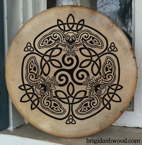 Hand-painted playable Bodhran Drum - Celtic Owl by Brigid Ashwood http://www.brigidashwood.com/painted-drums/