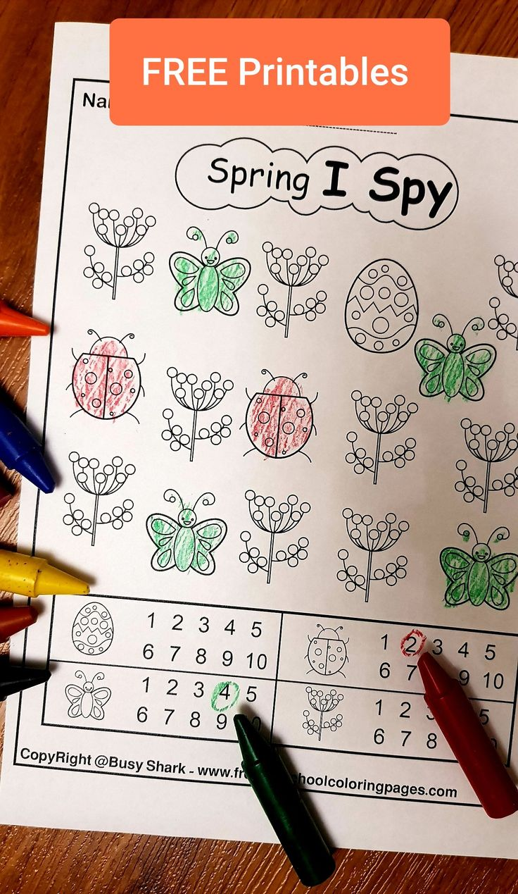 Pin on Spring I spy free preschool coloring pages