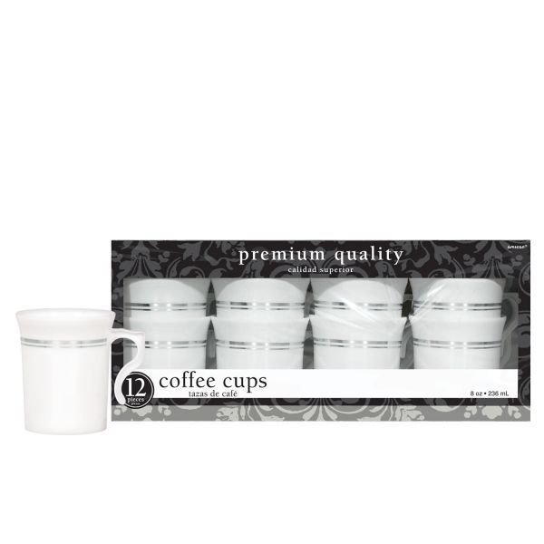 White Silver Trimmed Premium Plastic Coffee Cups 12ct