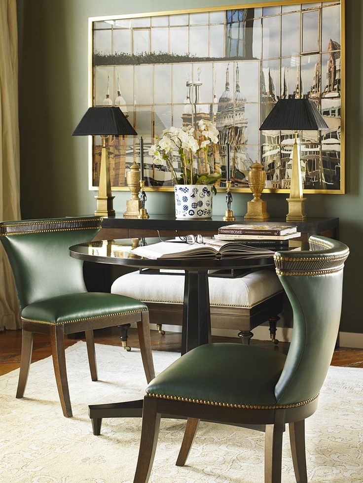 The Jacqueline Dining Chairs and Turner Center Table make for a beautiful apartment sized dining room!  Alexa Hampton for Hickory Chair.  www.hickorychair.com