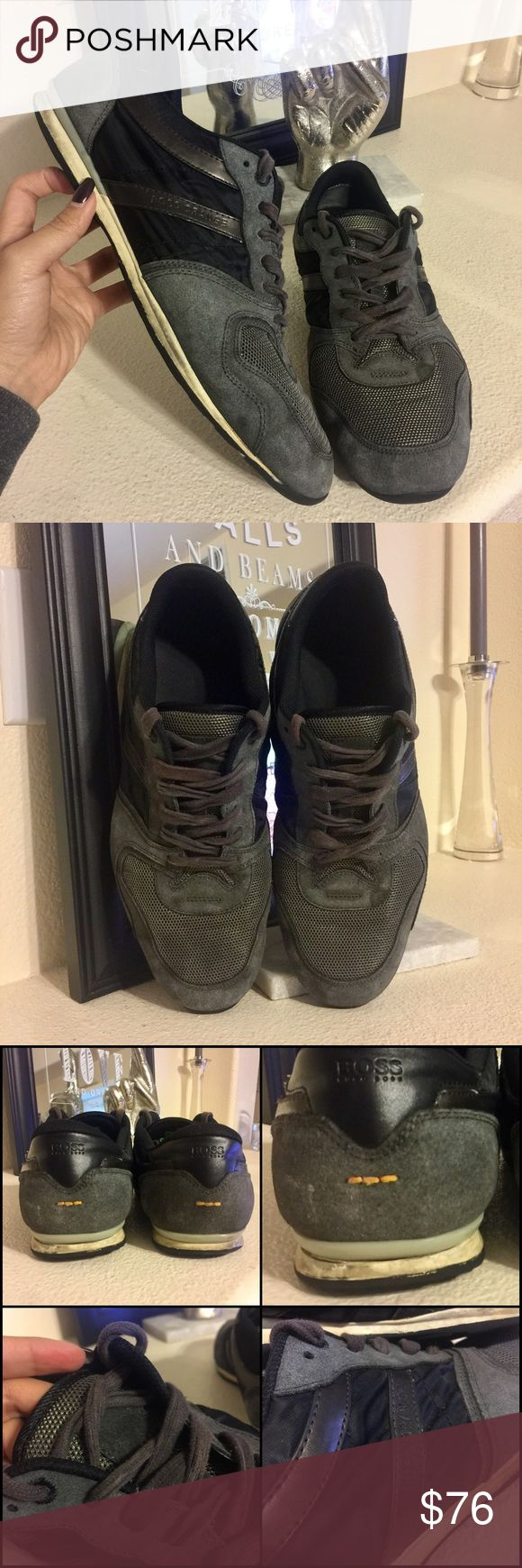 Hugo Boss Gray & Black Suede Leather Sneakers Gray & black sneakers or casual shoes for men from Boss Orange by Hugo Boss. Mix of Suede leather, mesh nylon, and laminated leather. Worn but there's still a lot of life left! ❣️MAKE AN OFFER Hugo Boss Shoes