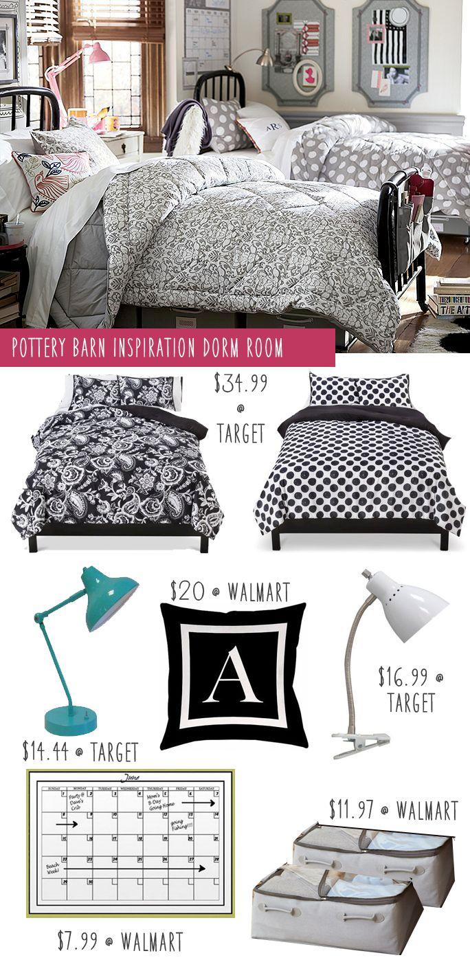 Pottery Barn Dorm Budget Makeover   Polka Dot Bedding