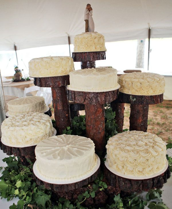 Deconstructed wedding cake.. like this better than the normal stacked cake. could do many different flavors, too :)