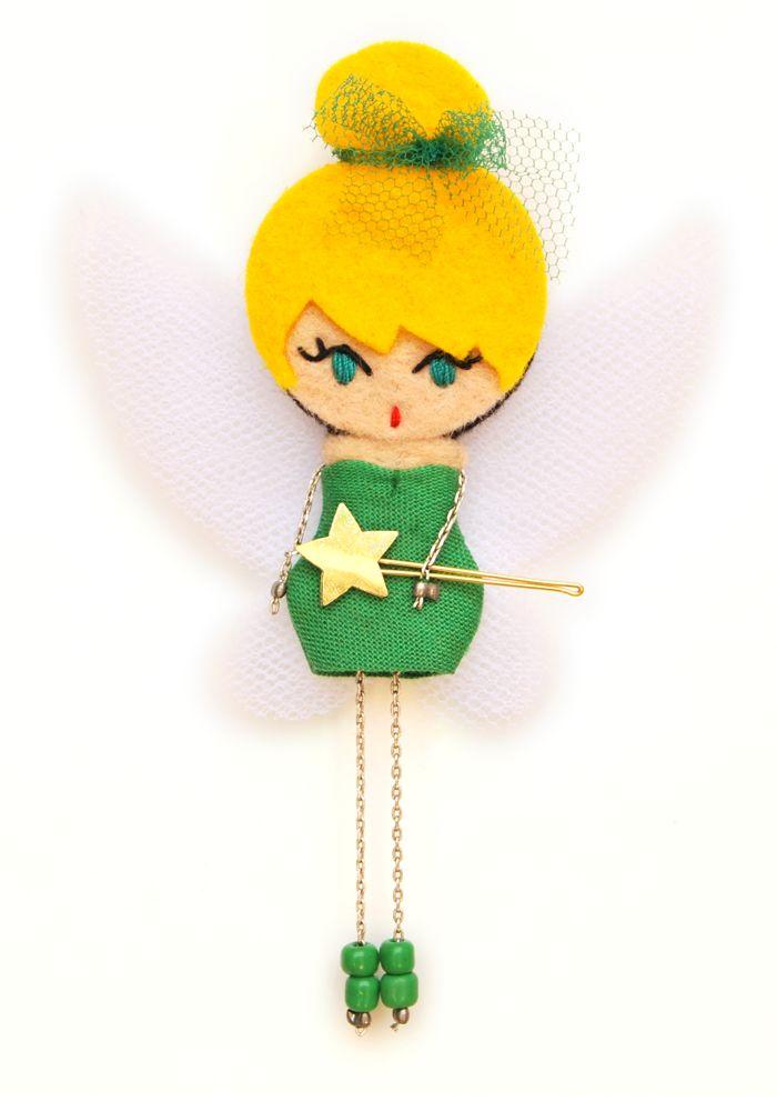 Campanilla. Tinker Bell  # felt dolls # brooche doll # custom doll # minimis