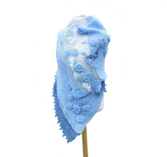Very soft romantic shawl made of blue mohair, cotton mesh, lace and haberdashery. Decorated with crochet flowers, lace butterflies and lace lizards -