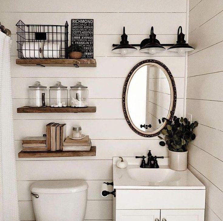 Shelving above toilet. Small sink cabinet. Matte black, vintage lighting. #vinta…   – most beautiful shelves