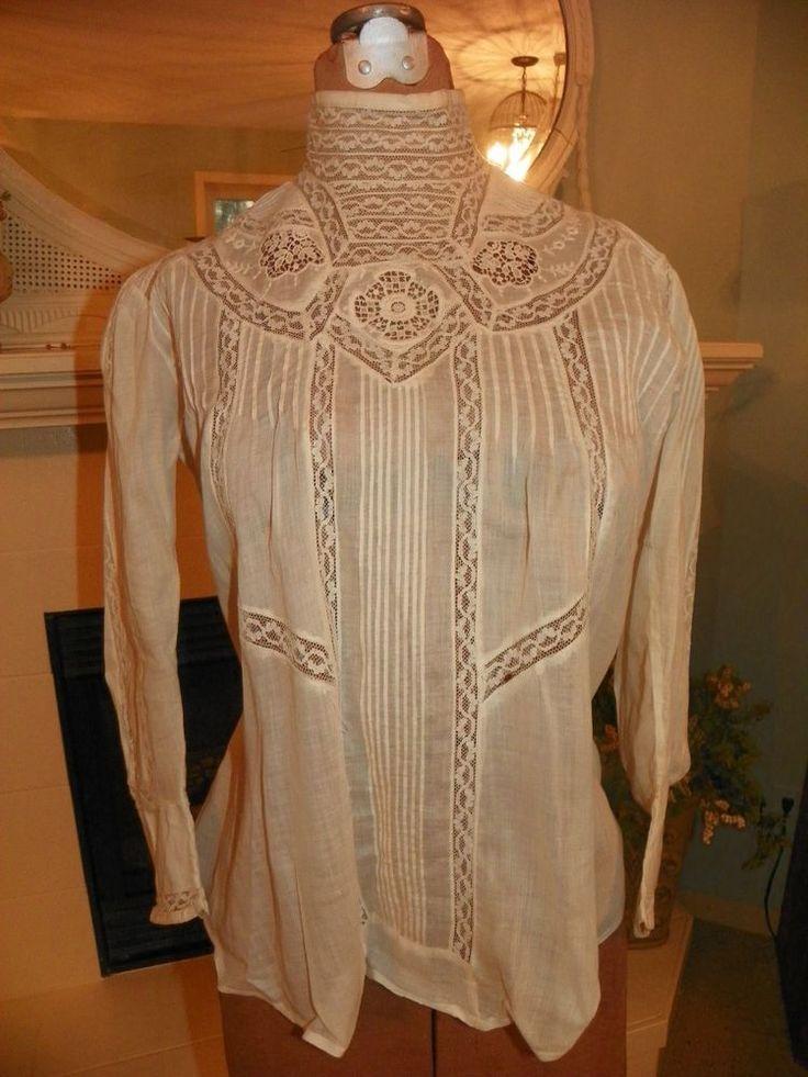 Antique Edwardian White Crochet Lace Blouse Shirtwaist 52