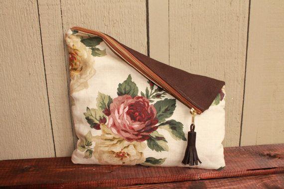 foldover clutch purse bag zipper bag natural floral by Keyaiira