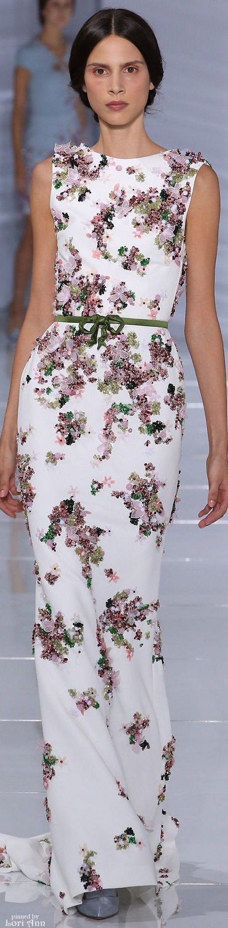 white floral maxi dress @roressclothes closet ideas women fashion outfit clothing style Georges Hobeika Couture Fall 2015: