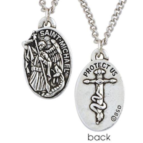 Saint Michael Protect Us Medal Christian Necklace. This pewter necklace illustrates St. Michael the Archangel, a champion of God's people, victorious in battle