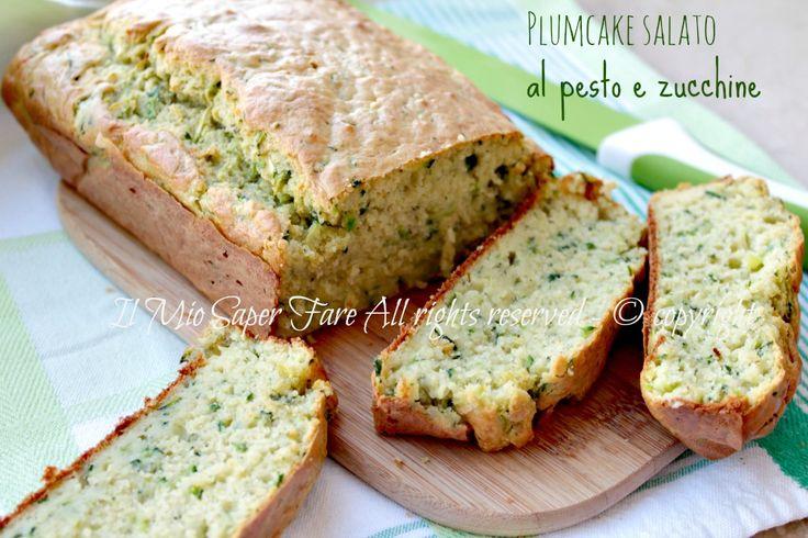 Plum cake salato zucchine e pesto di basilico