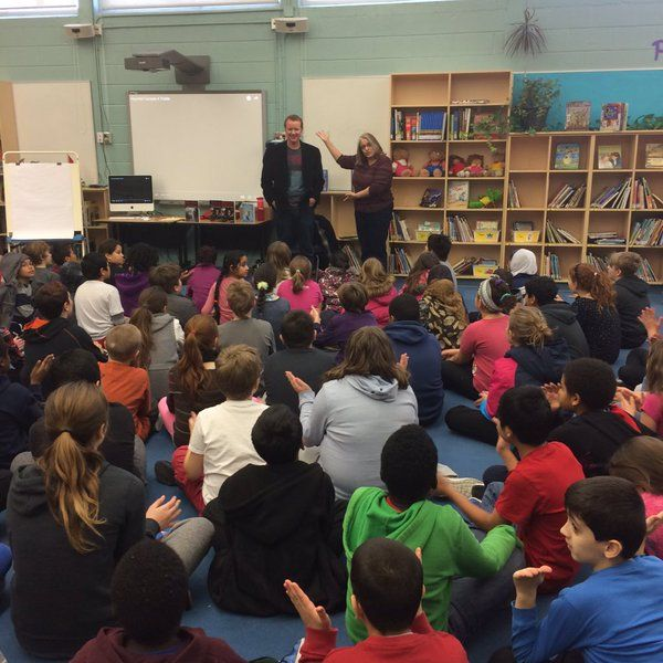 """""""Author @joelasutherland visits @fhlwrdsb to talk about his Haunted Canada 4 & 5 books. 5 is up for @ForestofReading""""- @Mrs_Fays_Class, retweeted by @RebeccaFayWRDSB - January 20, 2016 - Having speakers and experts come into the classroom will help teach the literacies as they may know more about it than myself and offer a difference perspective on the content of a literacy."""