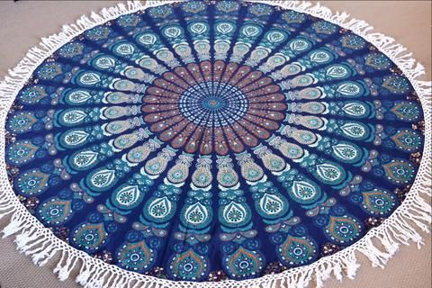 Harmony Peacock Mandala Beach Round Throw