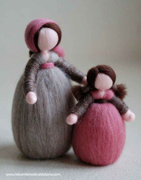 Shepherdess and wool crib baby, fairy tale, Waldorf inspired