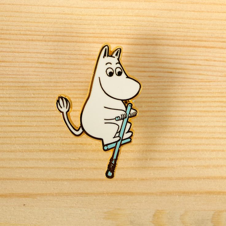 Moomin x the little dröm store – Moomin with pogo stick brooch. We're super excited to collaborate with Moomin to design a series of Moomin products, in celebration of Tove Jansson's 100th year anniversary! http://shop.thelittledromstore.com/product/moomin-x-drom-brooch-pogle-stick-new