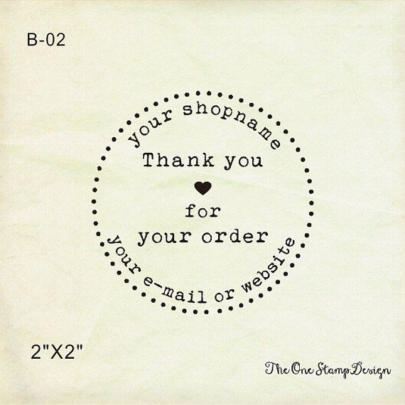 "custom rubber stamp or selinking stamp-  2"" x2"" -  Custom Thank You Stamp - thank you for your order-business stamp-custom logo stamp"