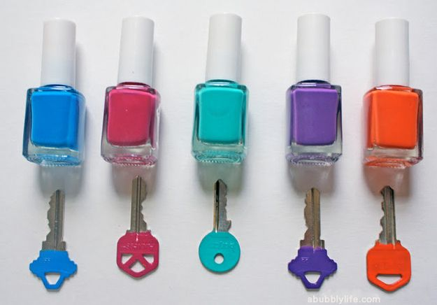 50 Clever DIY Ways To Organize Your Entire Life: Nail Polish Keys