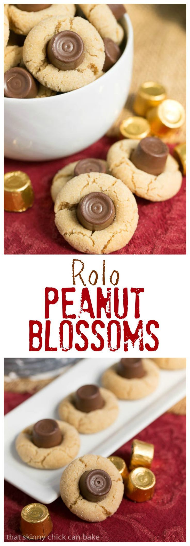 Rolo Peanut Blossoms   Sugar coated peanut butter cookies topped with a chocolate caramel Rolo @lizzydo